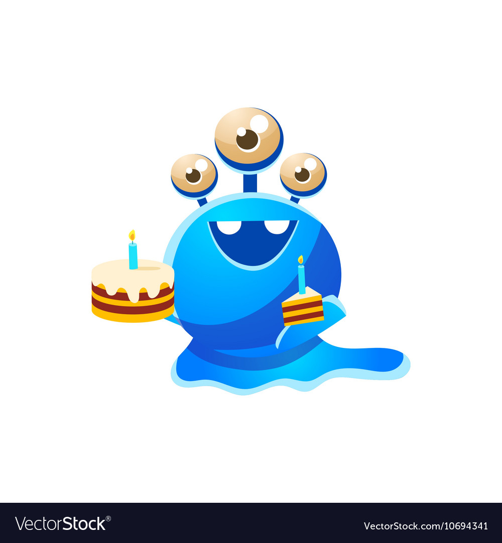 Blue threeeyed toy monster with full birthday vector