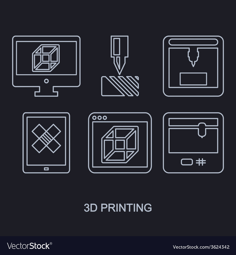 3d printing icon set showing manufacturing vector