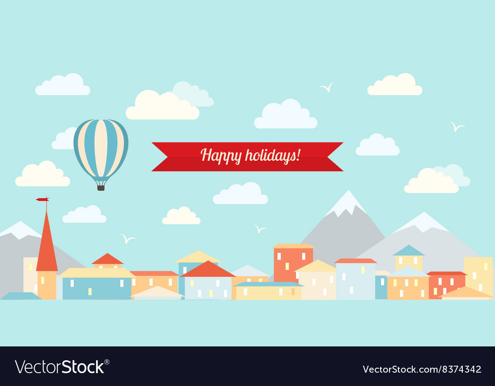 Air balloon in the cloudy sky flying over the city vector