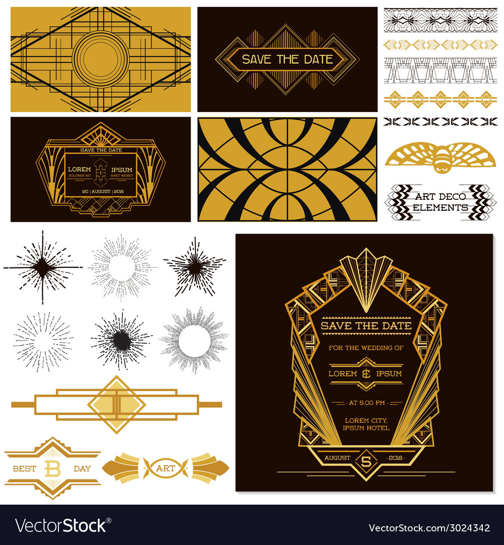 Art deco or gatsby party set  for wedding vector