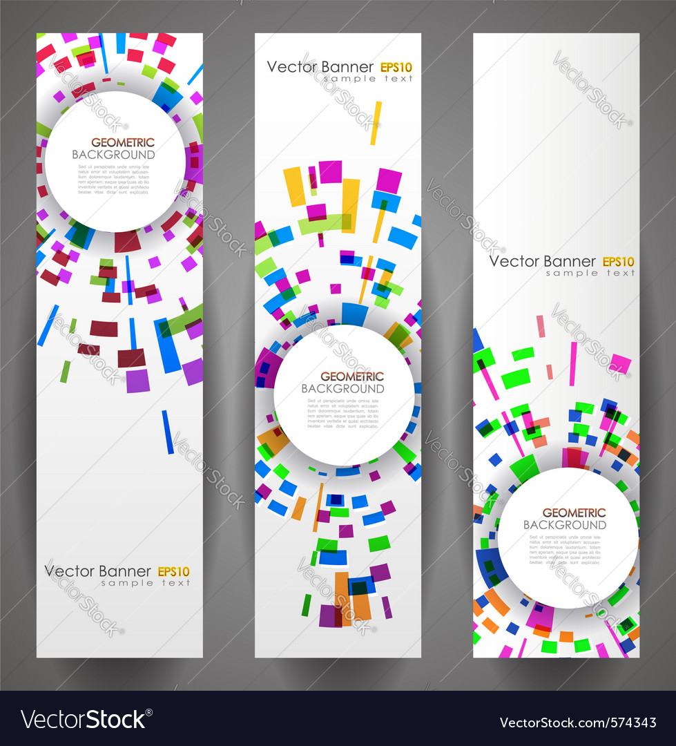 Geometric circles banner set vector