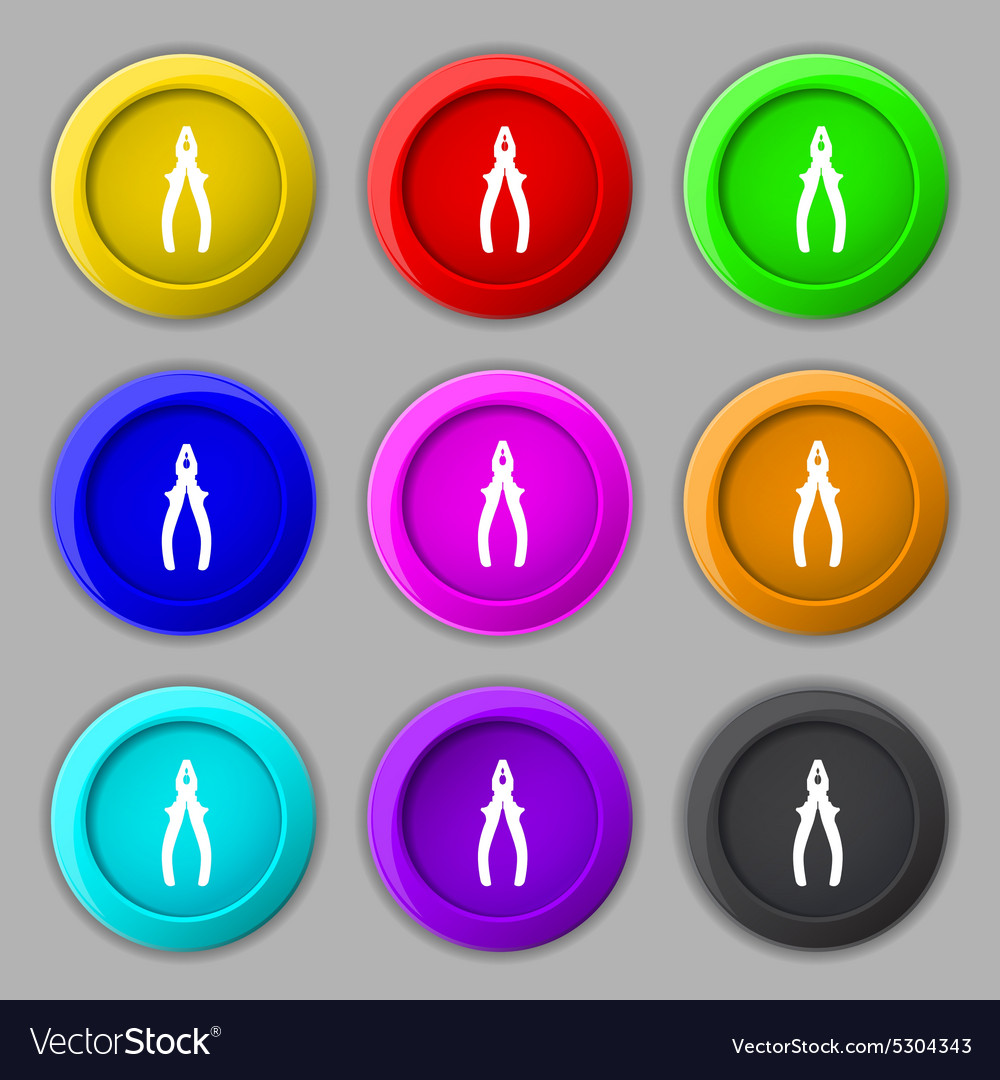 Pliers icon sign symbol on nine round colourful vector