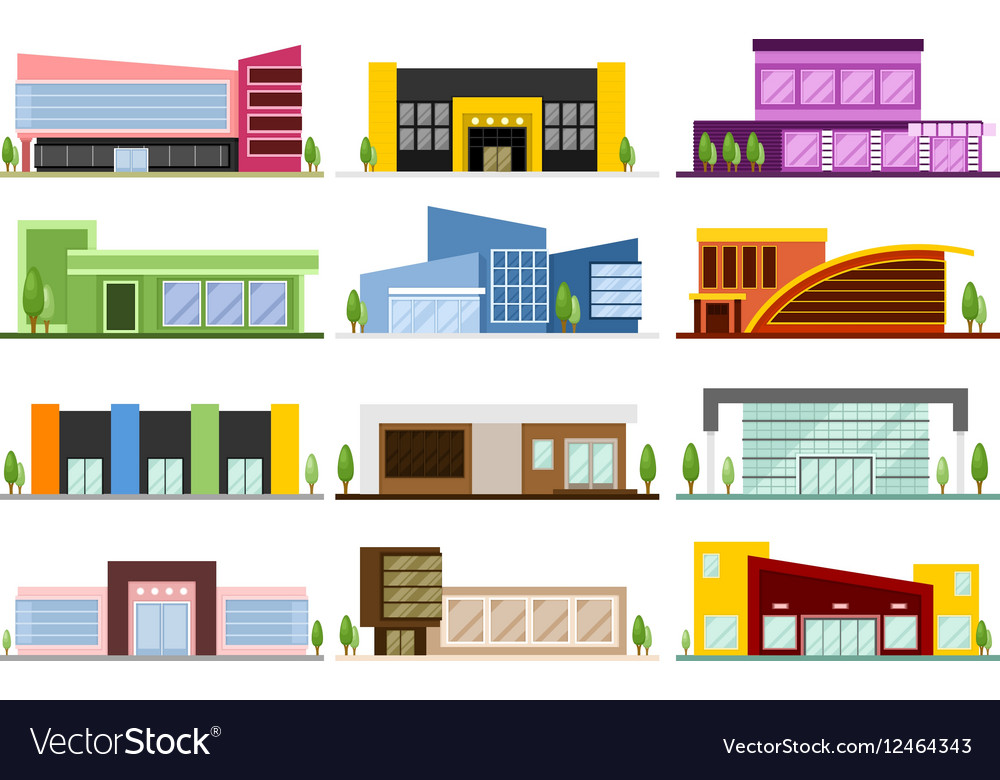 Set of shops buildings vector