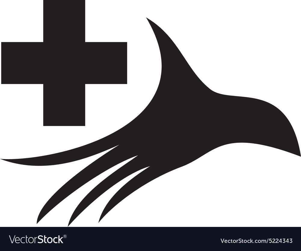 Stylized silhouette of a palm with medical cross vector