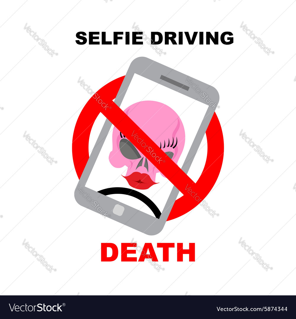 Sign ban on selfie strikethrough phone with skull vector
