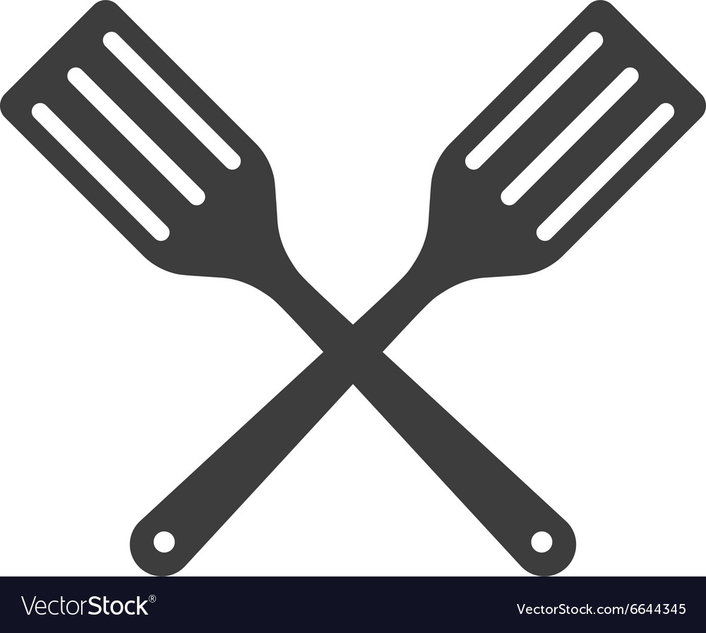 Icon two kitchen shovels scapulas or fry shovels vector