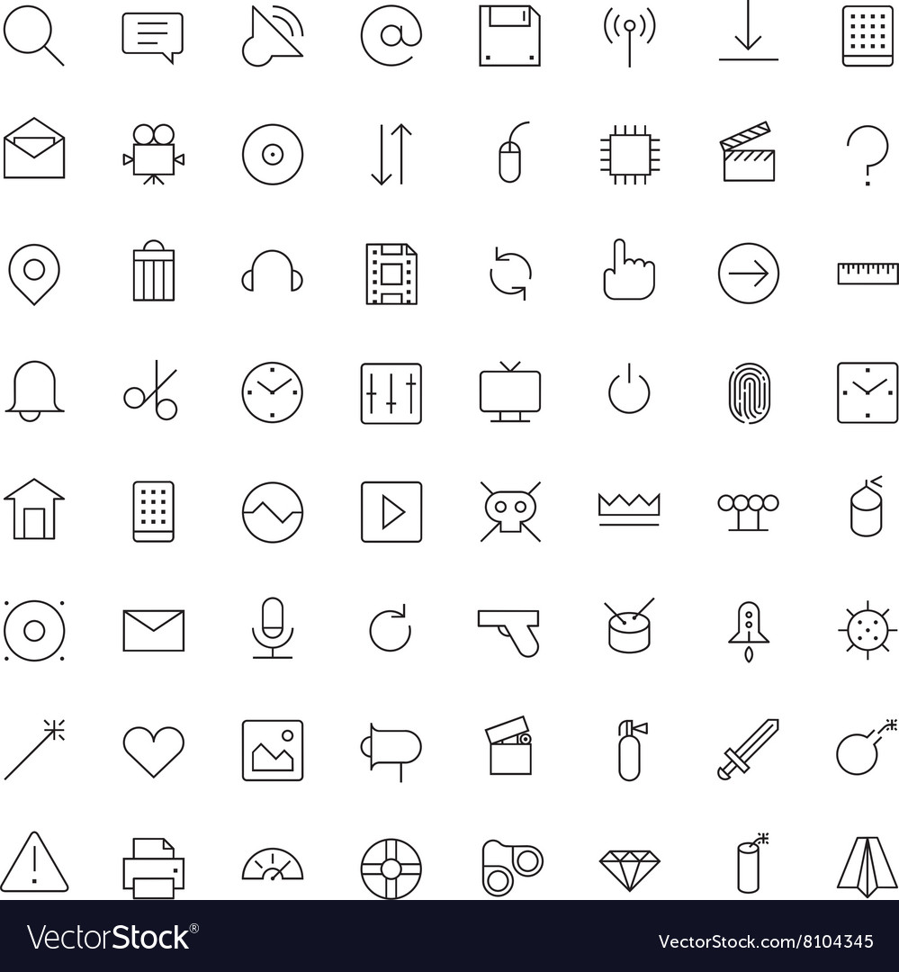 Thin line icons for user interface vector
