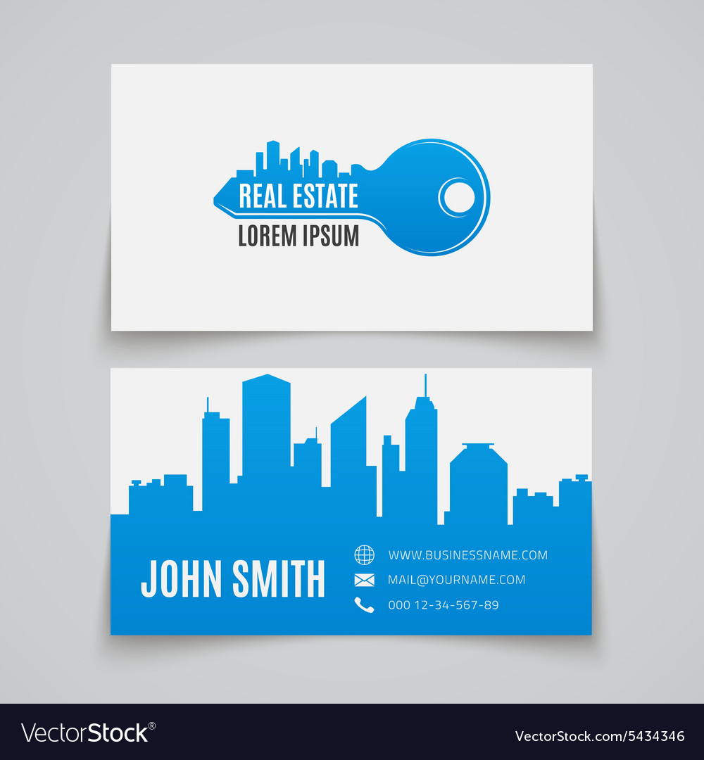 Business card template real estate vector