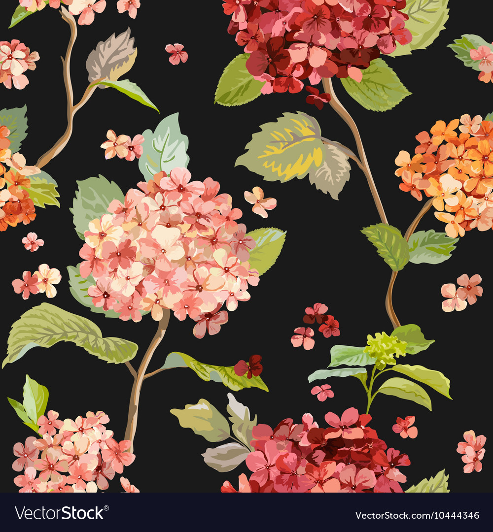 Floral hortensia background  seamless pattern vector