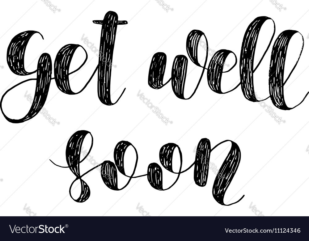 Get well soon brush lettering vector
