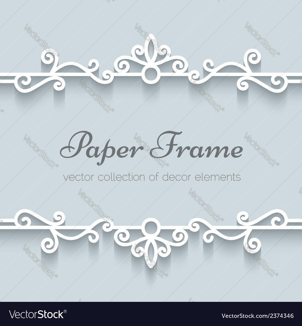 Ornamental paper frame vector