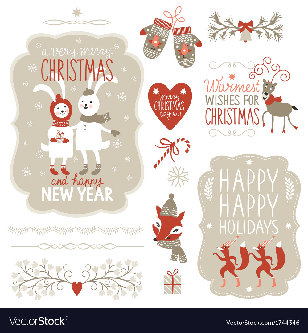 Set of christmas lettering and graphic elements vector