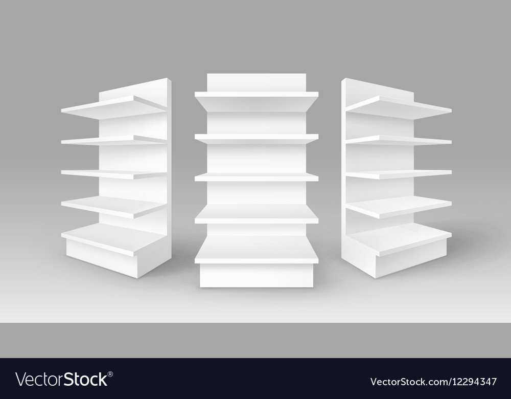 White exhibition stands shop racks with shelves vector