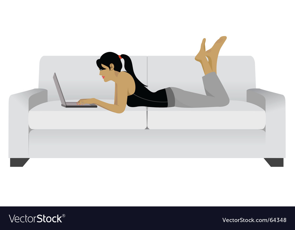 Girl laptop sofa vector