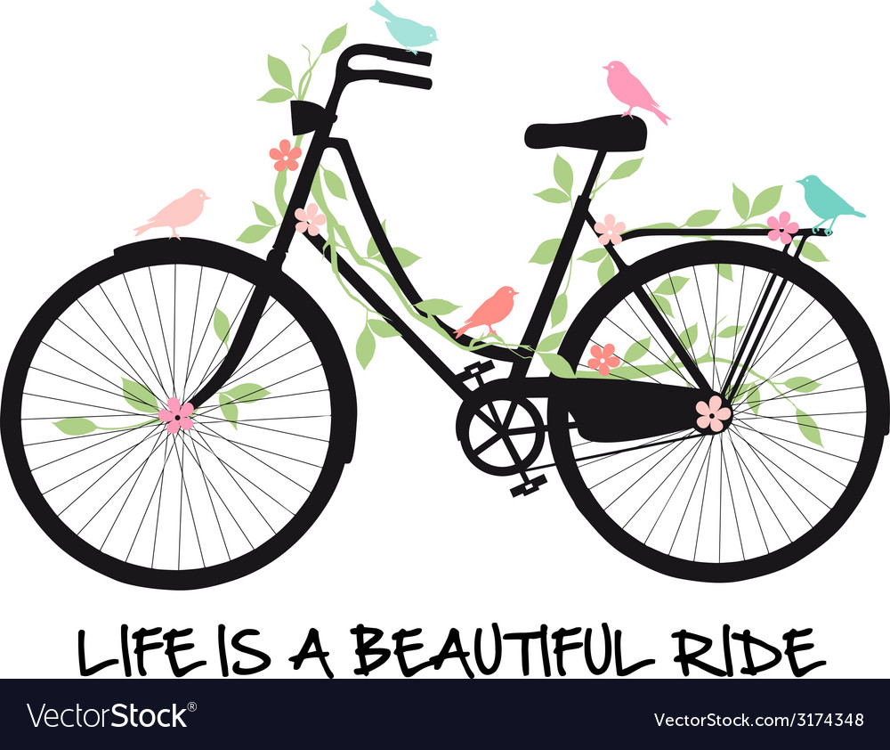 Life is a beautiful ride vintage bicycle vector
