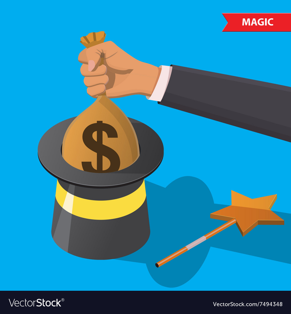Magic hat and money bag vector