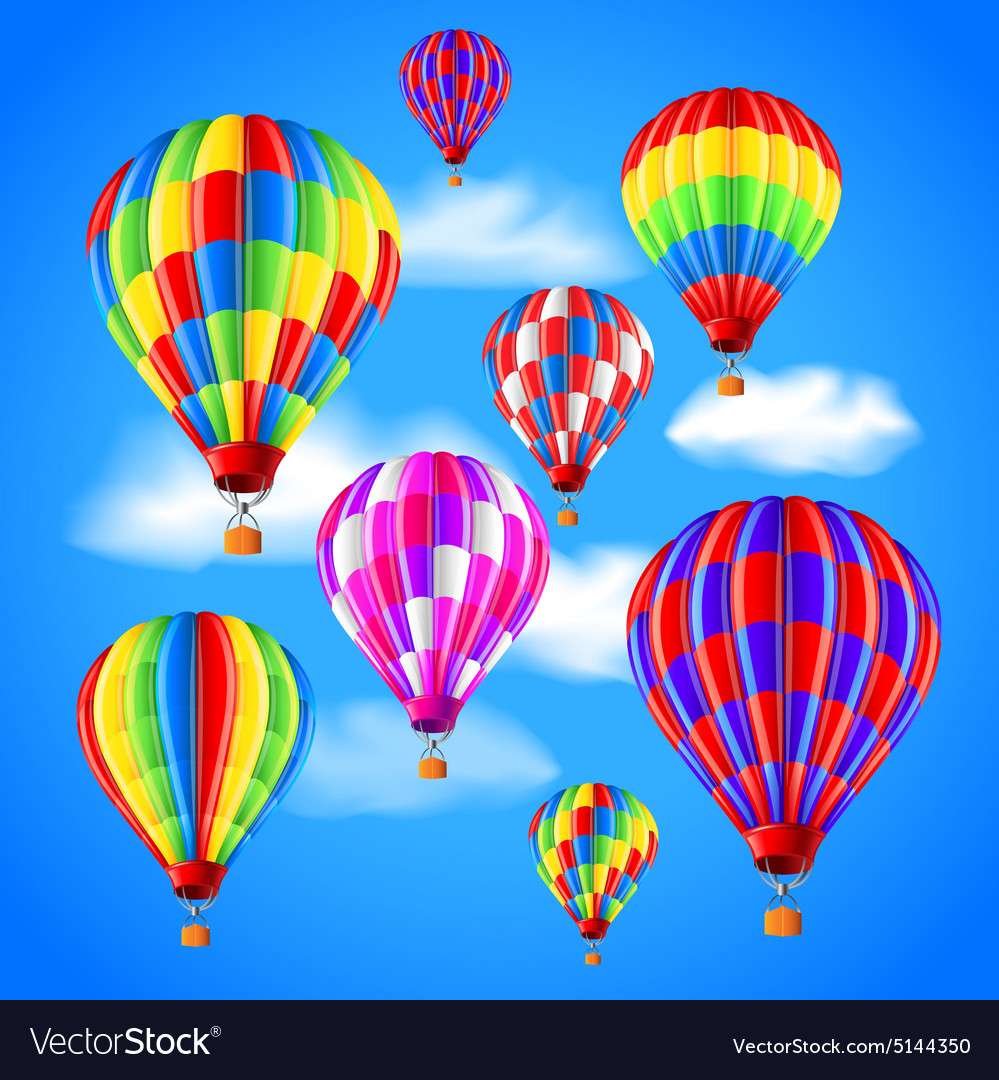 Hot air balloons in the sky background vector