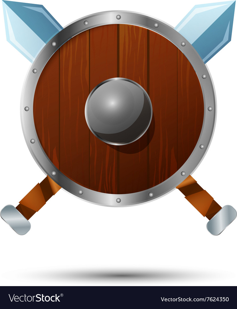 Round wooden shield with crossed swords vector