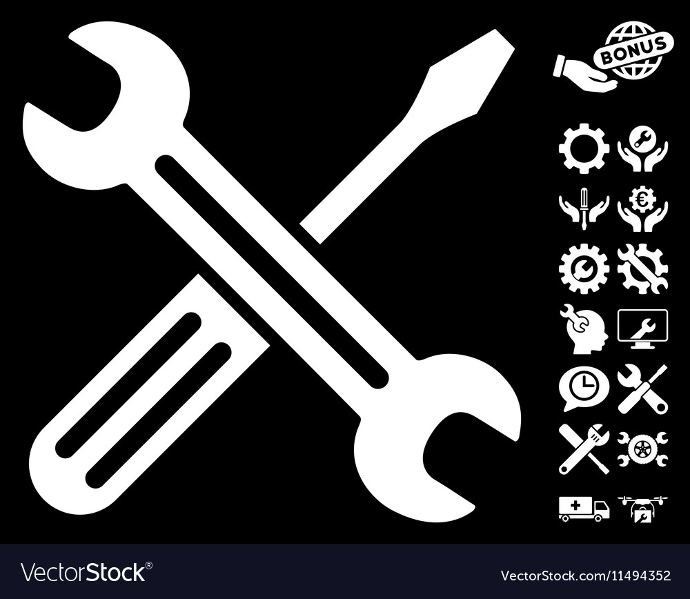 Spanner and screwdriver icon with tools vector