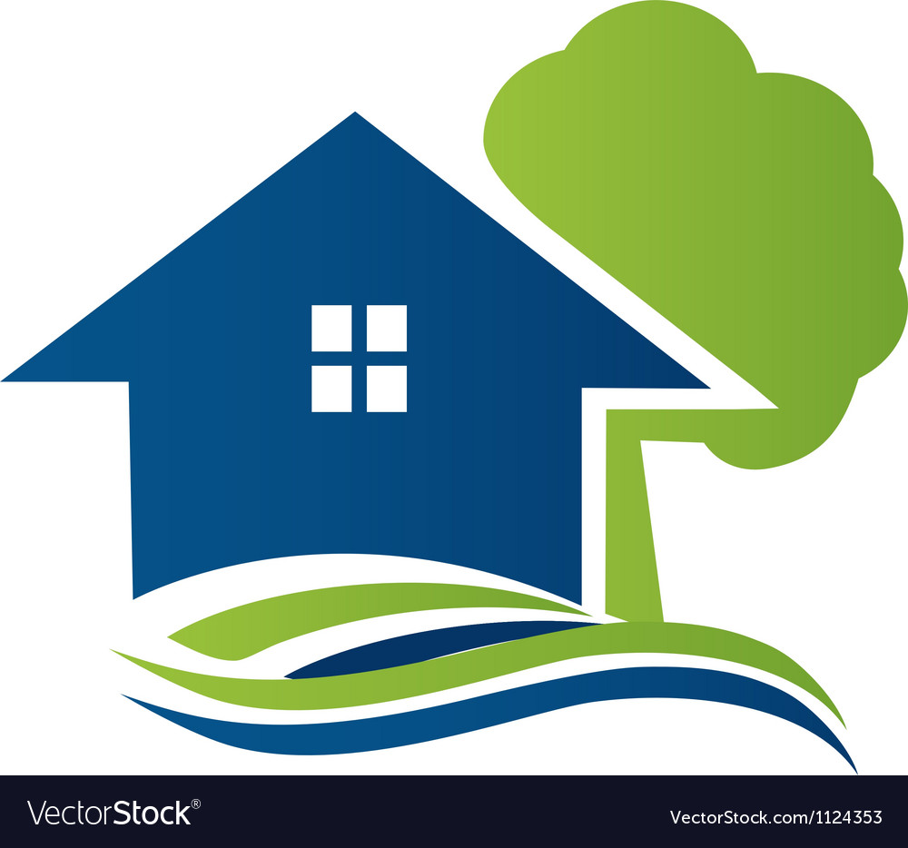 House with tree and waves logo vector