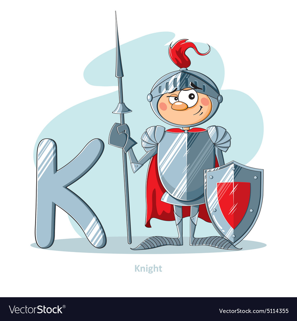 Cartoons alphabet  letter k with funny knight vector