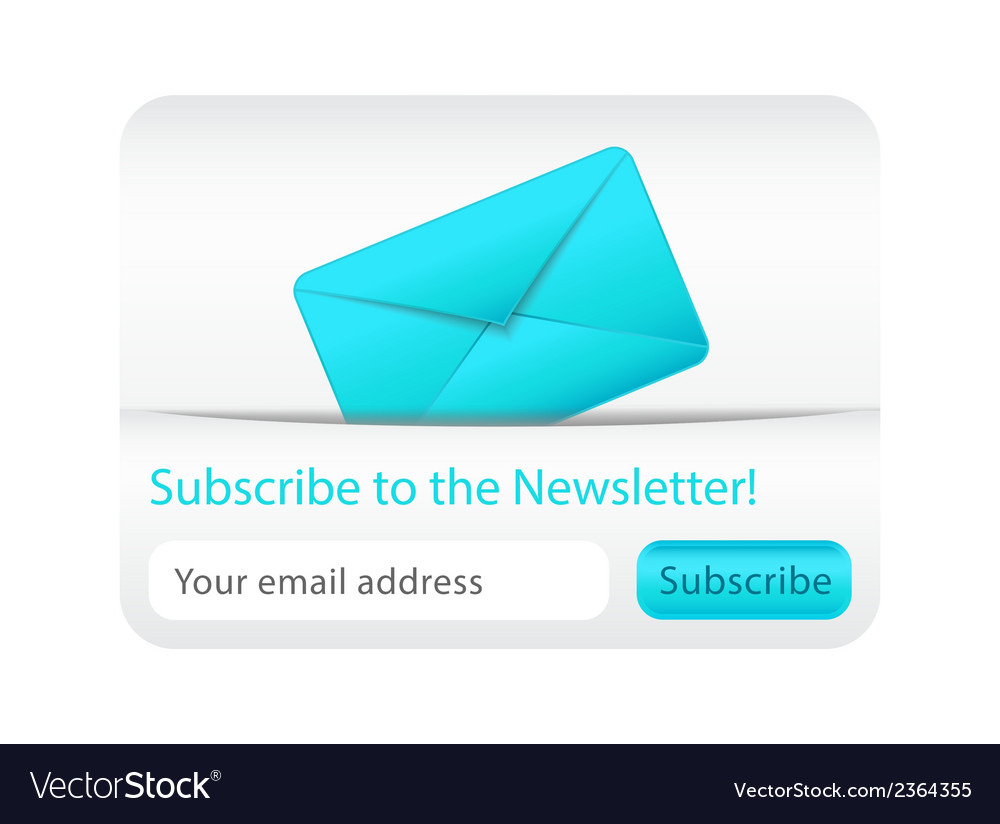 Light subcribe to newsletter website element with vector