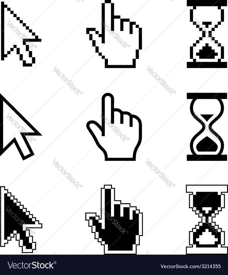 Pixel cursors icons  mouse cursor hand pointer vector