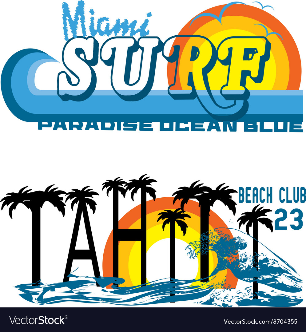 Tahiti tropical set miami and tahiti vector