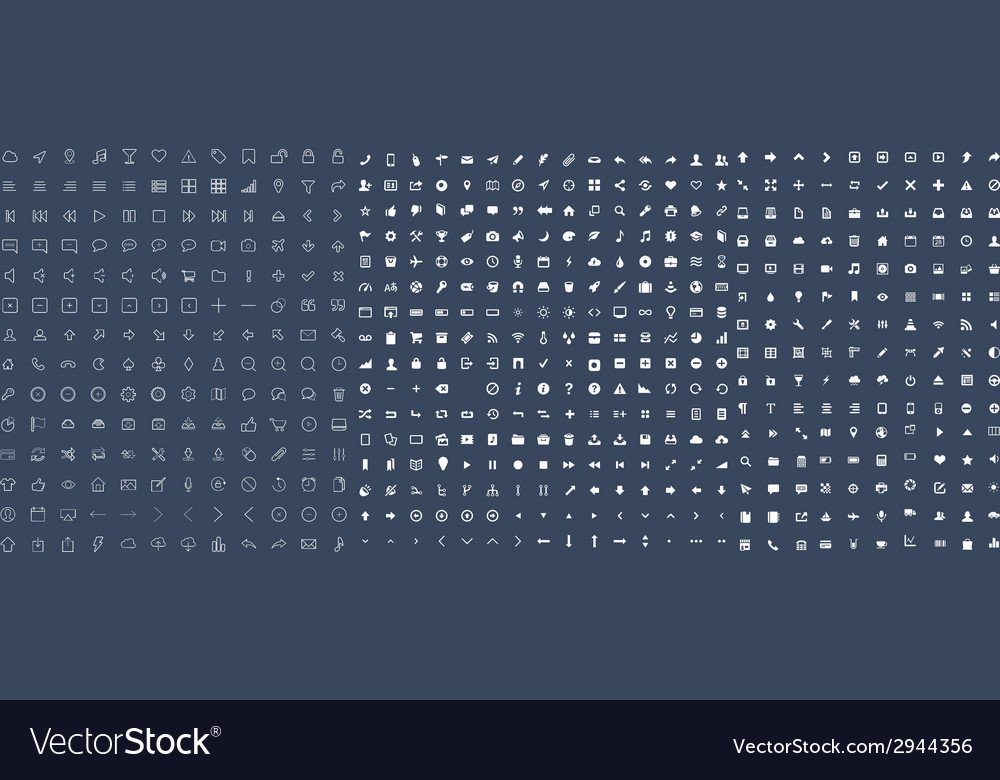 Set of 500 universal icons vector