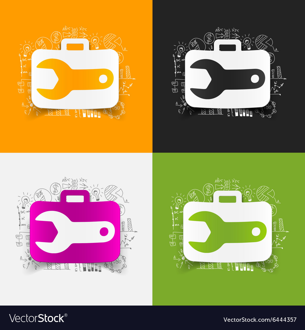 Drawing business formulas wrench vector
