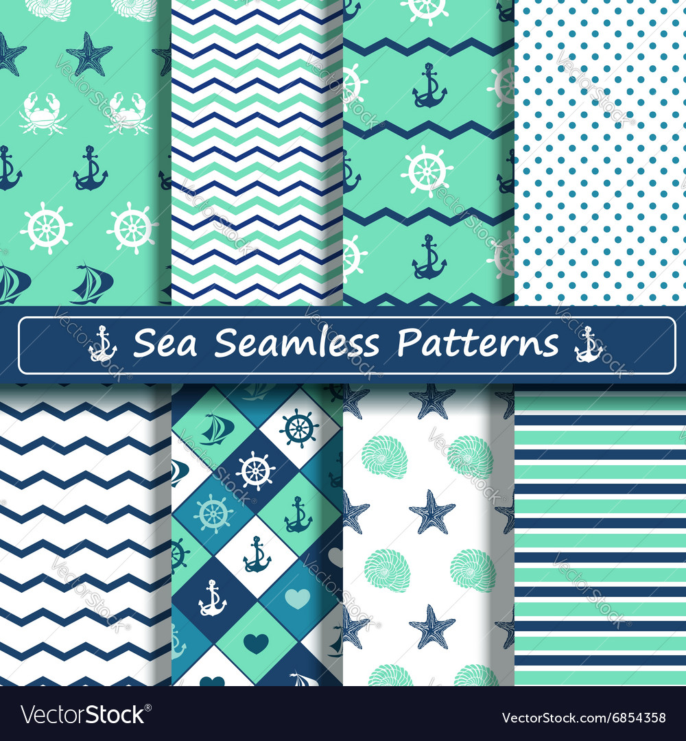 Set of sea seamless patterns vector