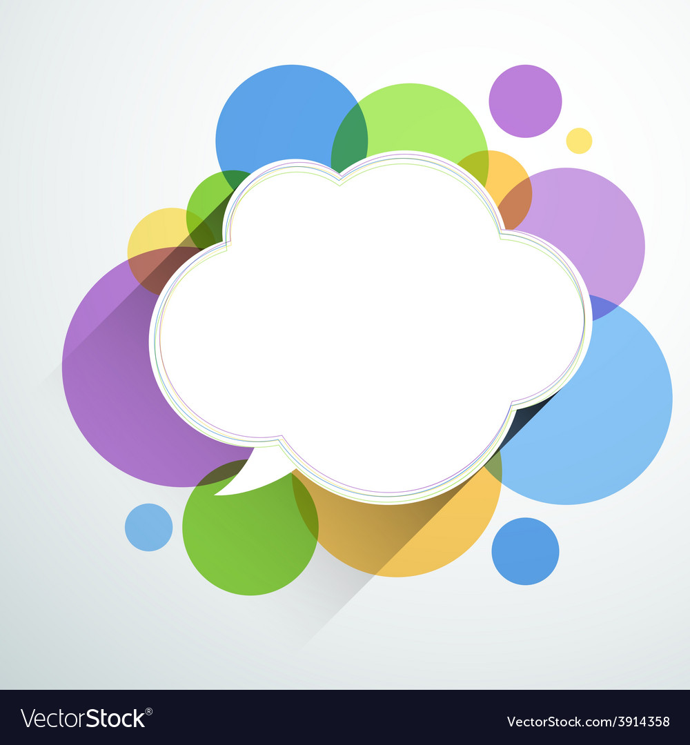 White paper cloud over color bubbles vector
