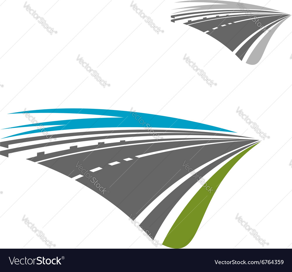 Express highway road with blue sky abstract icon vector