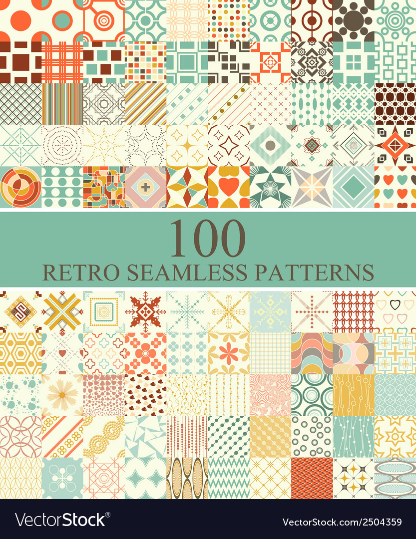 Set of 100 seamless retro vector