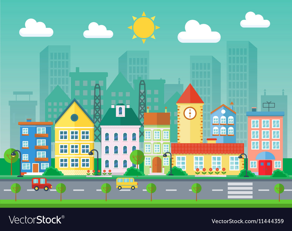 Urban landscape flat village vector