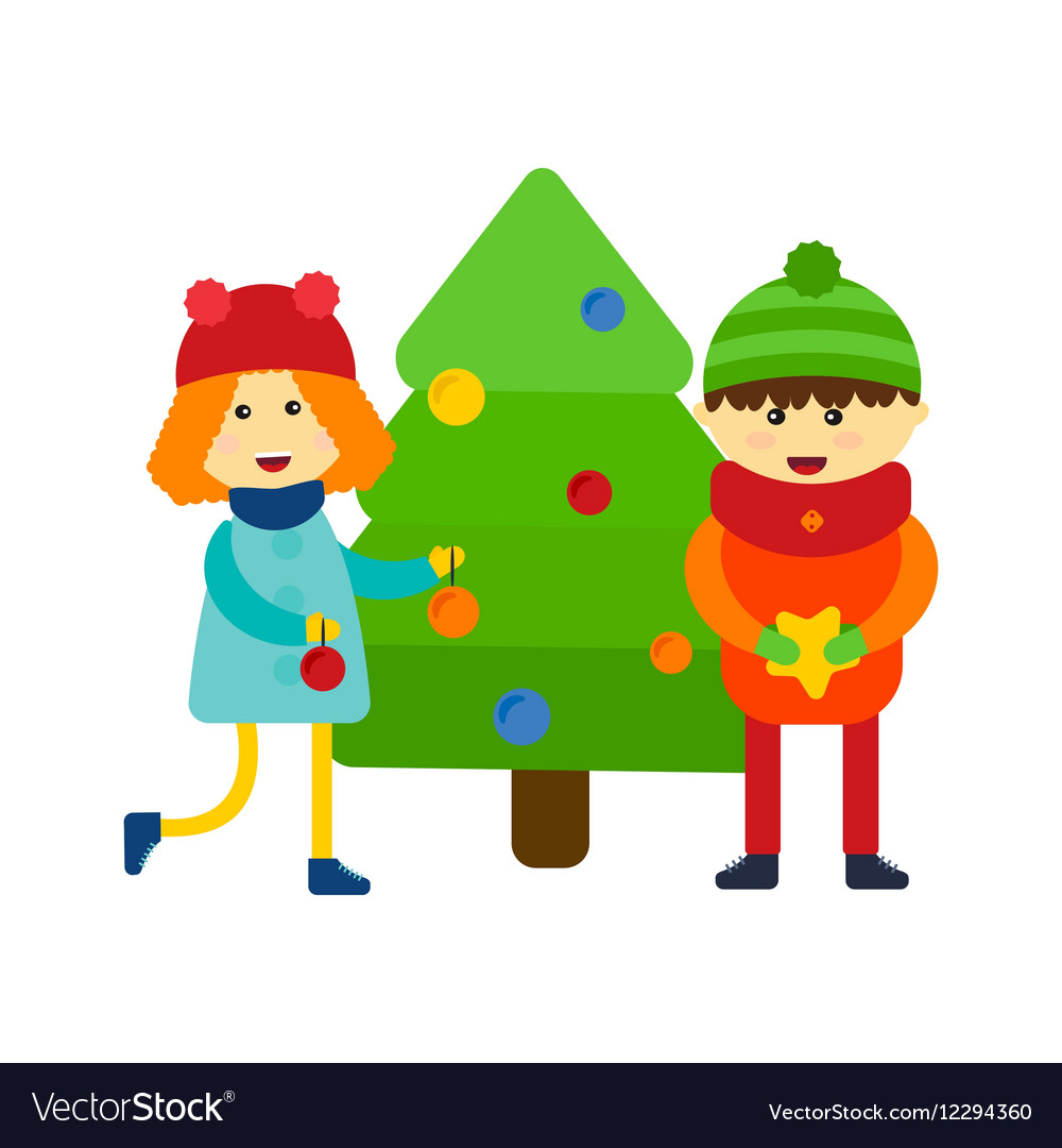 Kids near pine tree vector