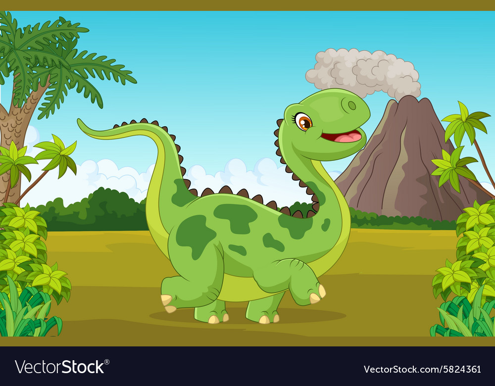 Cartoon happy dinosaur with mountain vector