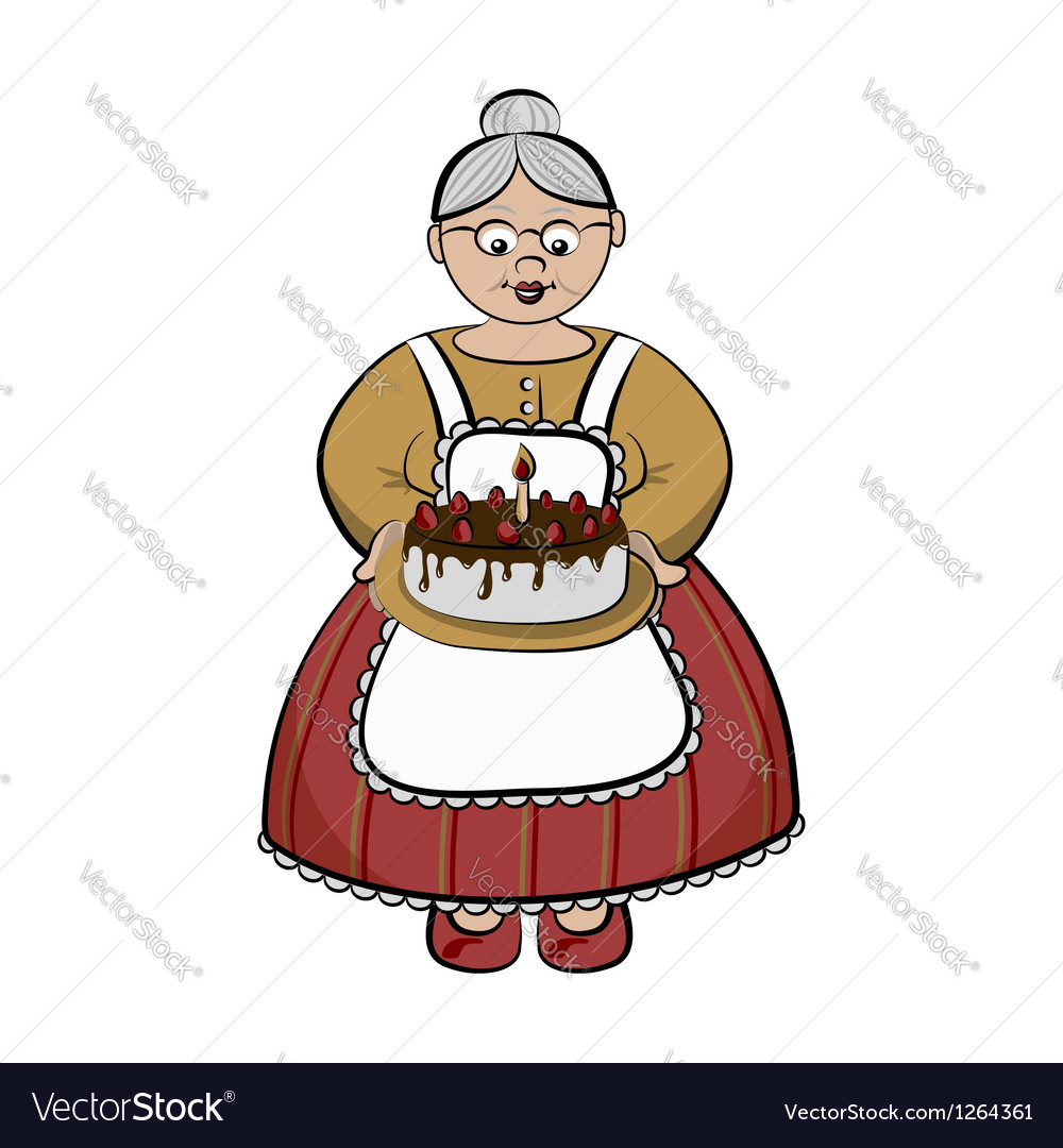 Character  old lady carry birhday cake vector