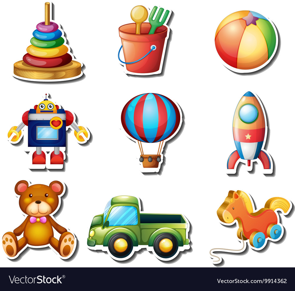 Set of toys stickers vector