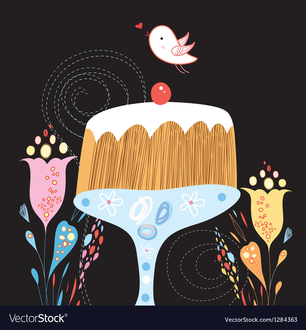Cake and bird vector