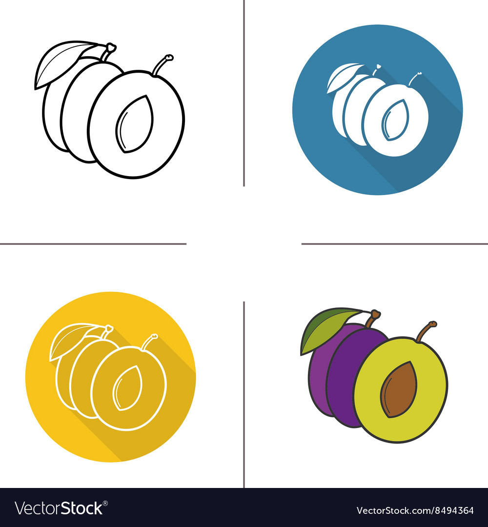 Plum flat design linear and color icons set vector