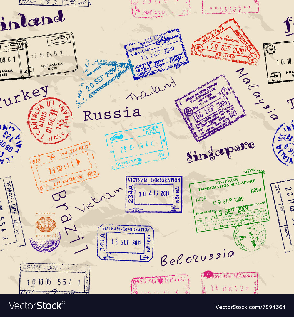 Seamless texture with real visa stamps vector