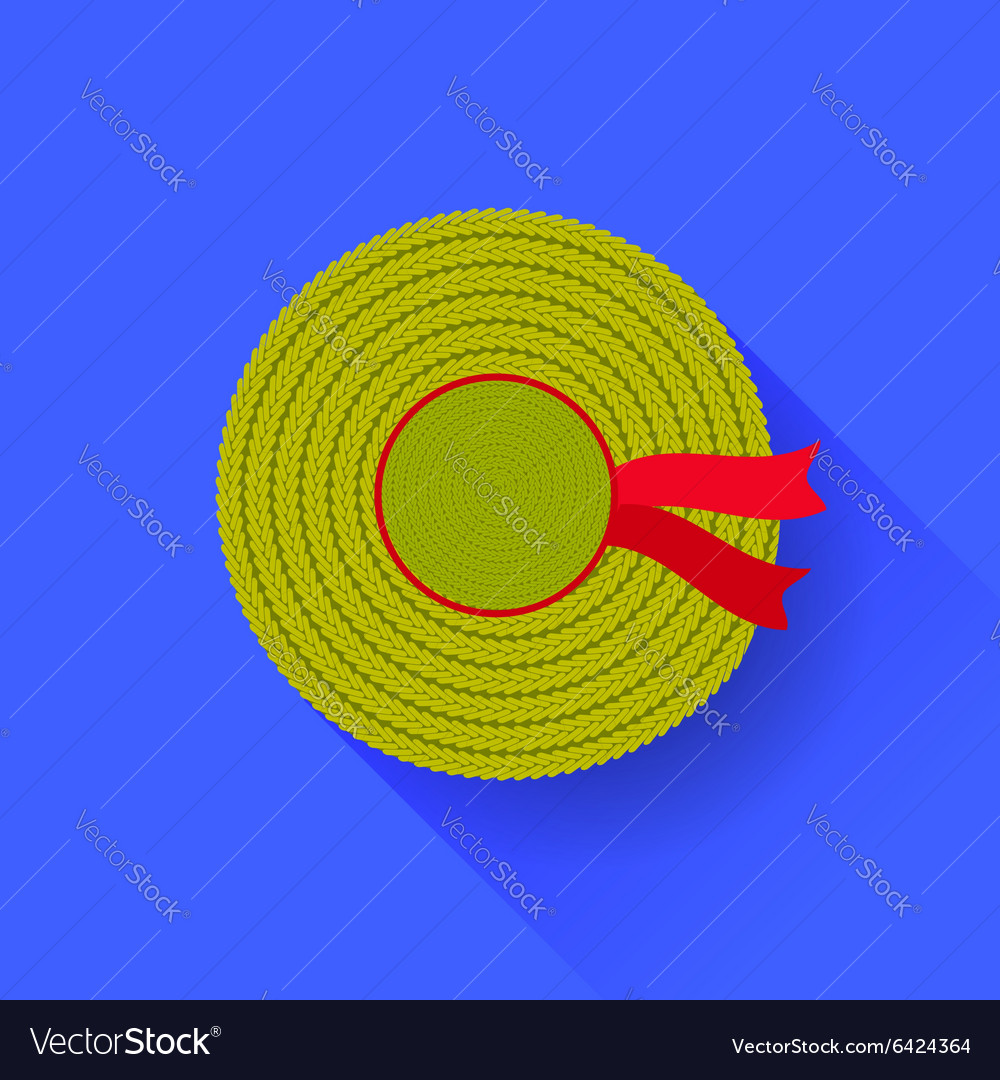 Sun straw hat isolated vector