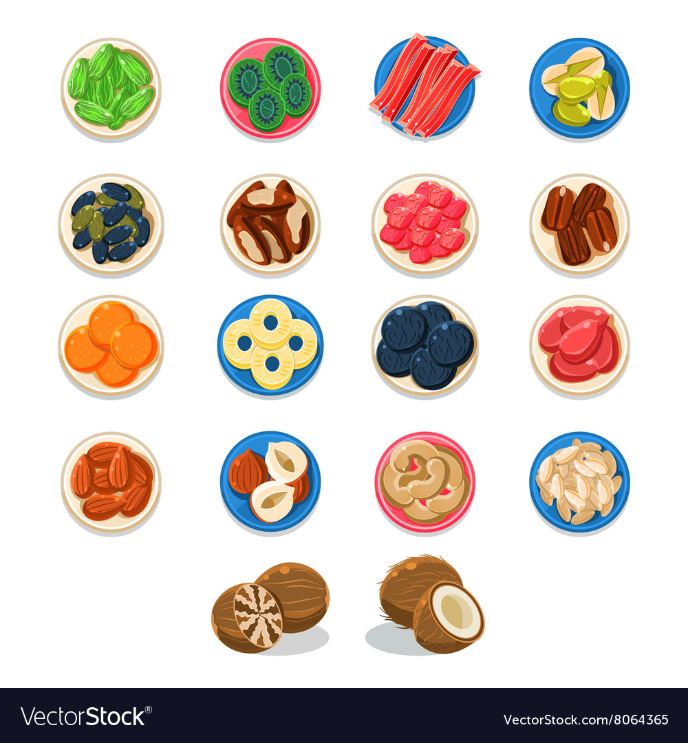 Breakfast food sample plates collection vector