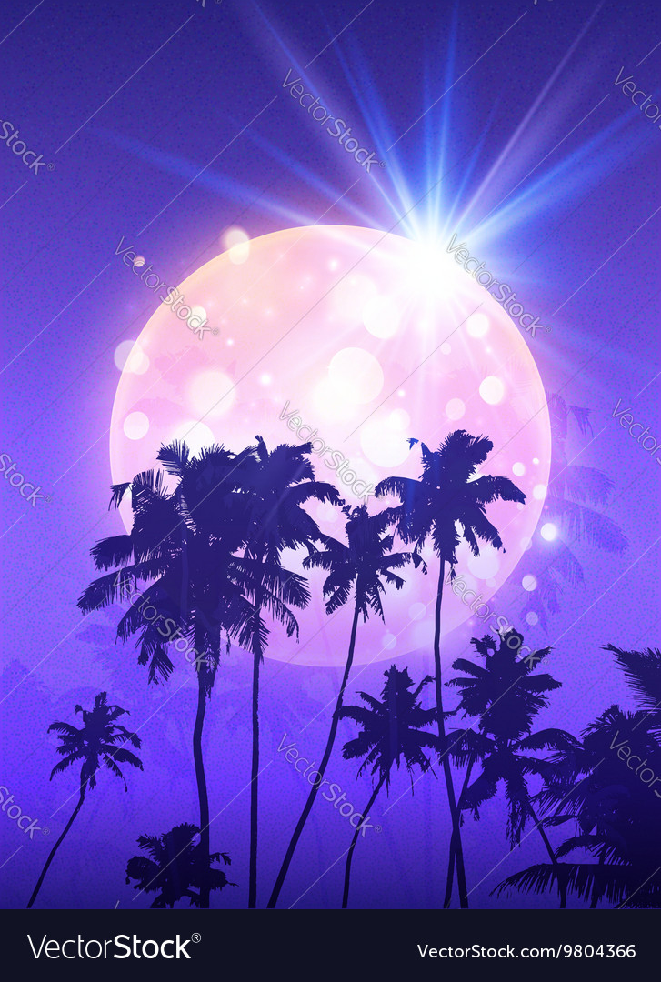 Pink shining moon with black palm trees vector
