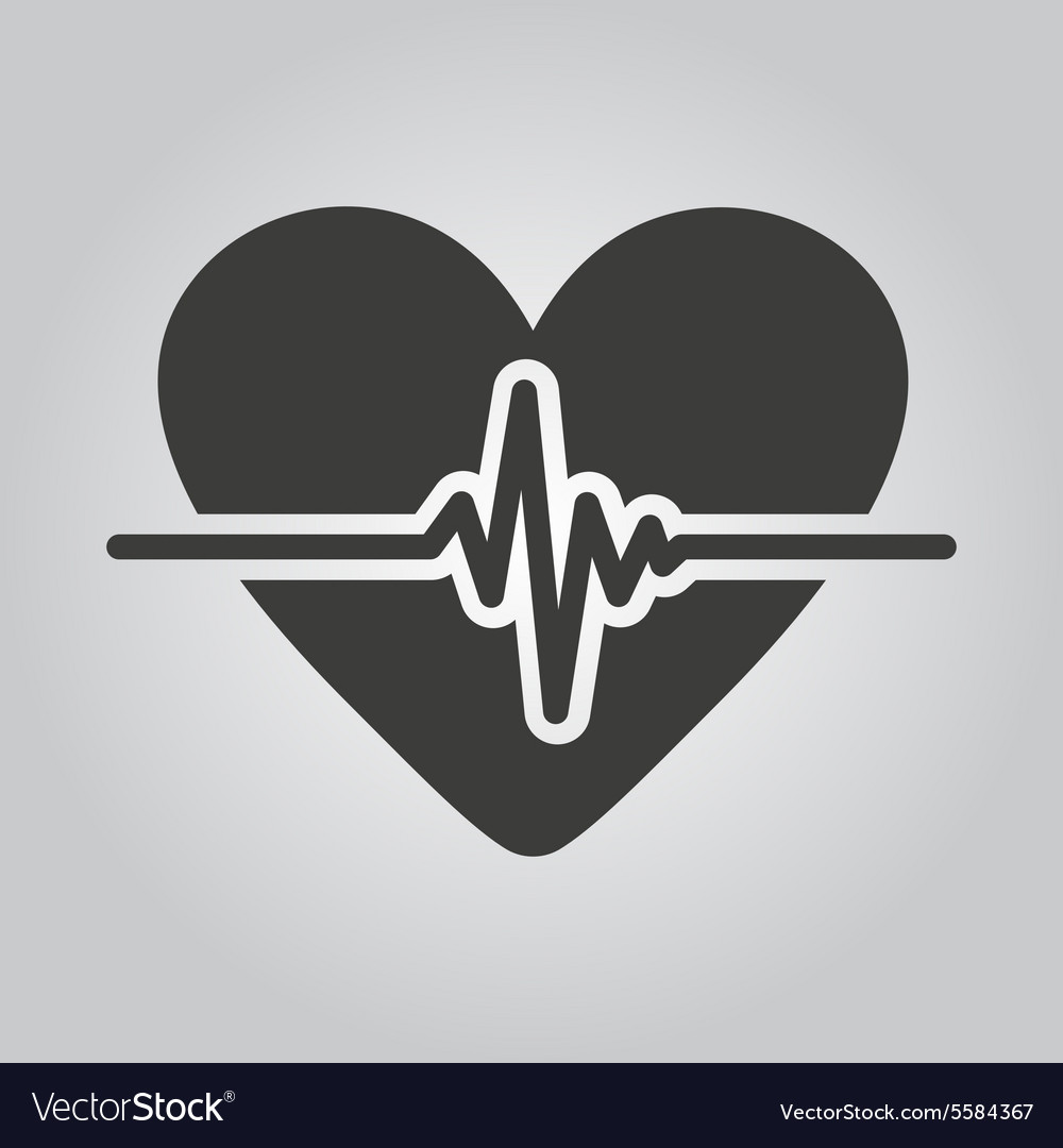 Heart icon cardiology and cardiogram ecg vector