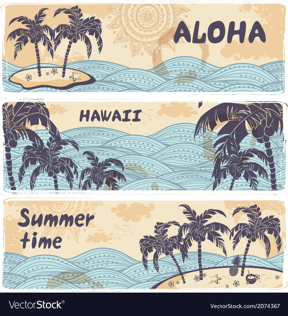 Vintage banners of the islands in the ocean vector