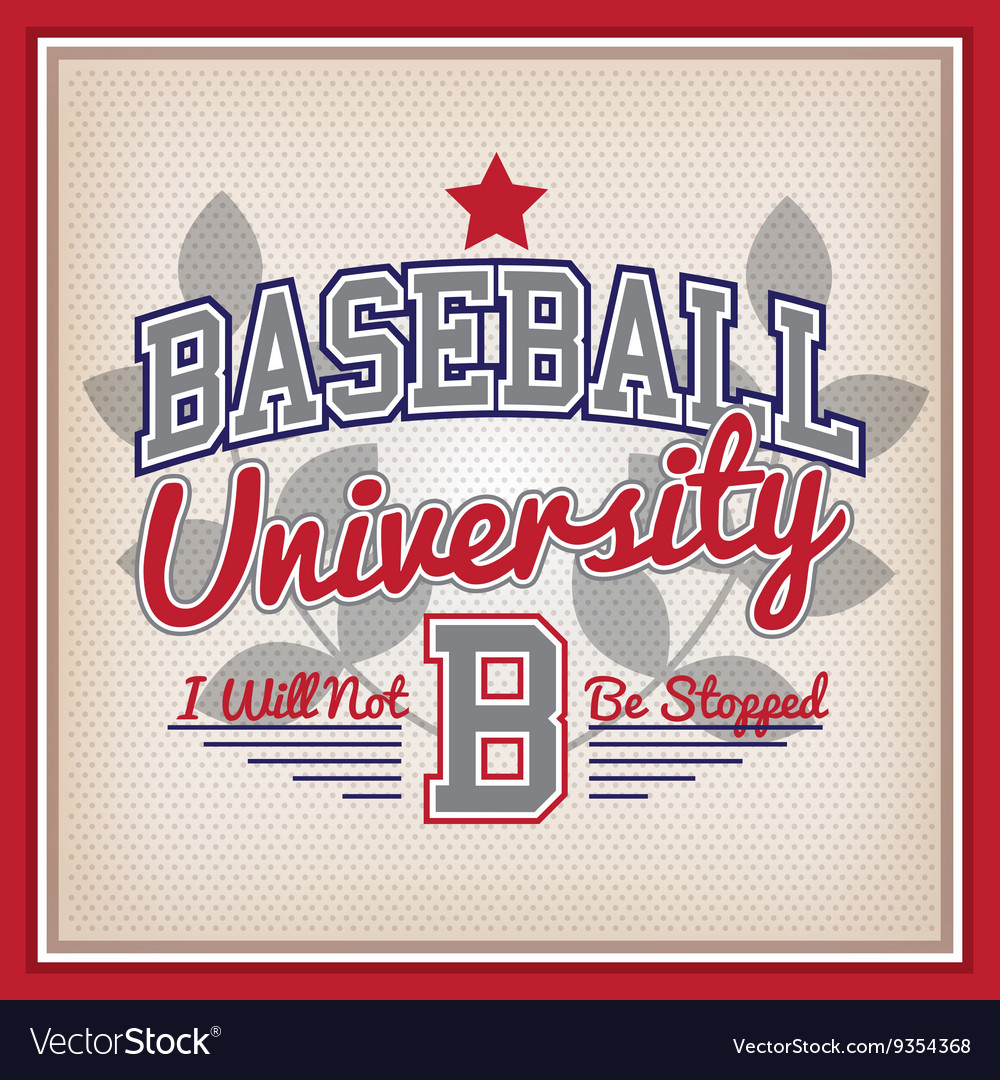 Baseball university badge vector