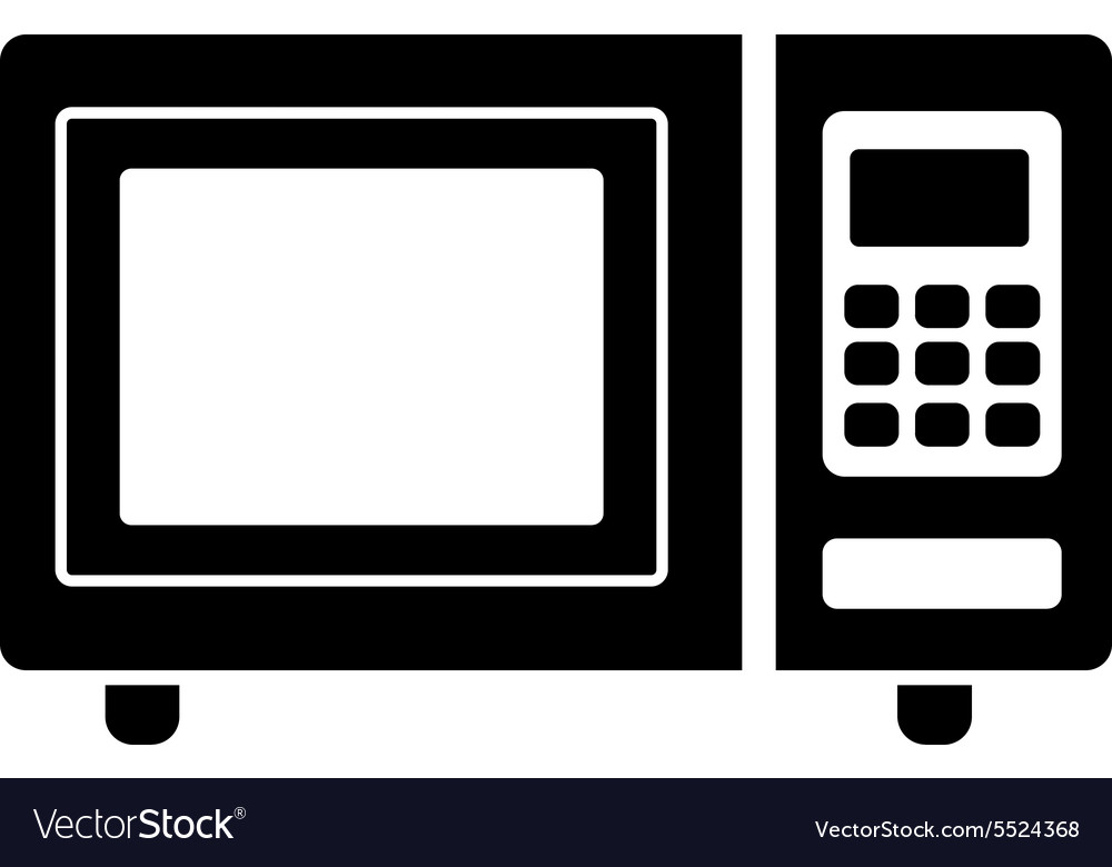 Microwave oven icon kitchen symbol flat vector