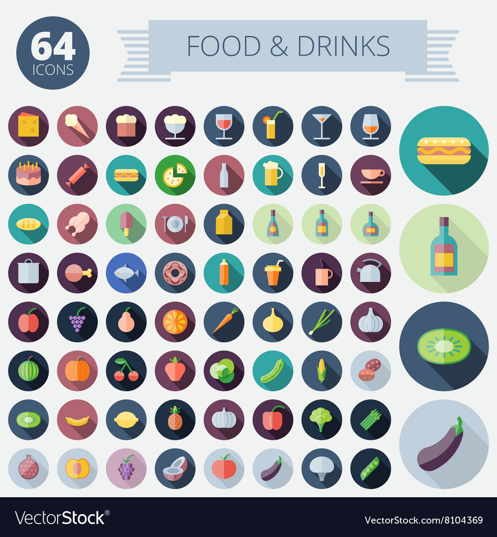 Icons for food drinks fruits and vegetables vector